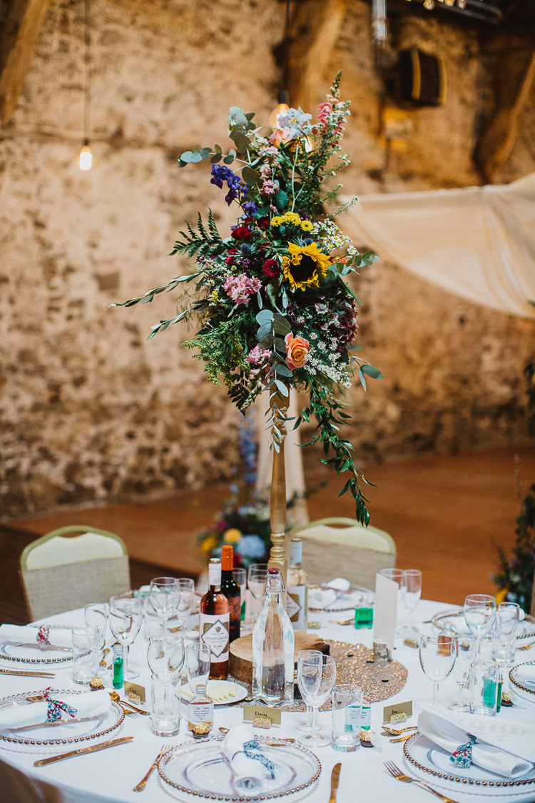 Tall Flowers Centrepiece Table Decor Colourful DIY Floral Luxe Barn Wedding http://www.joemather-photography.co.uk/