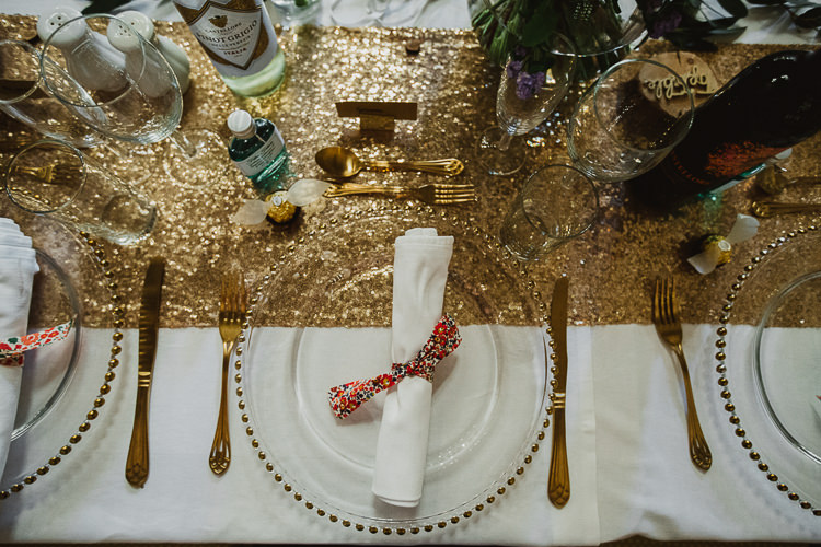 Gold Sequin Table Cloth Colourful DIY Floral Luxe Barn Wedding http://www.joemather-photography.co.uk/