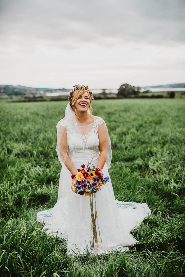 Lace Tulle Gown Ronald Joyce Bride Bridal Colourful DIY Floral Luxe Barn Wedding http://www.joemather-photography.co.uk/