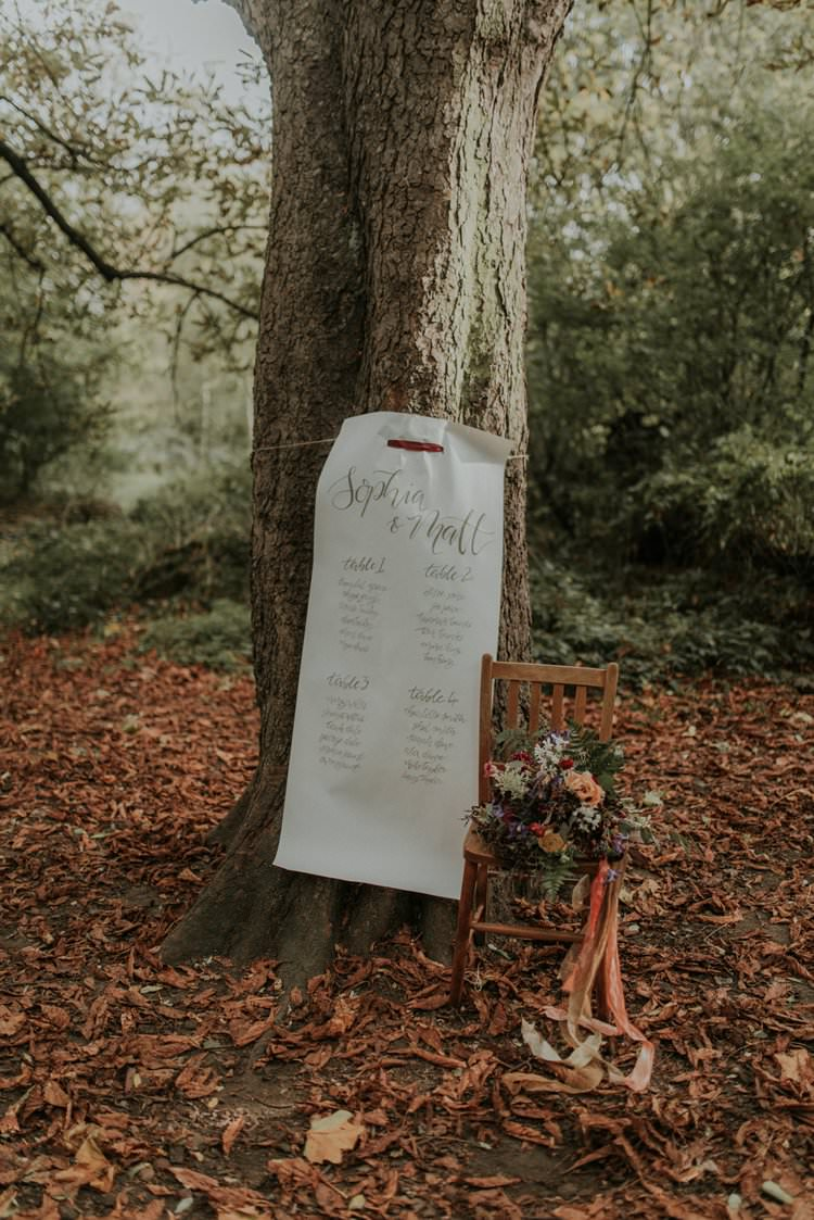 Seating Plan Table Chart Calligraphy Autumn Hygge Wedding Ideas http://meganelle.co.uk/