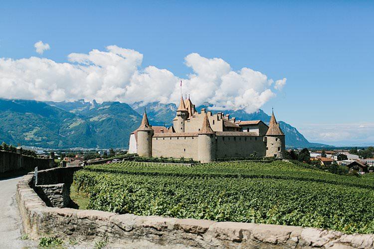 Destination Summer Mountains Sunny Vineyard | Romantic Castle Switzerland Wedding http://kbalzerphotography.com/