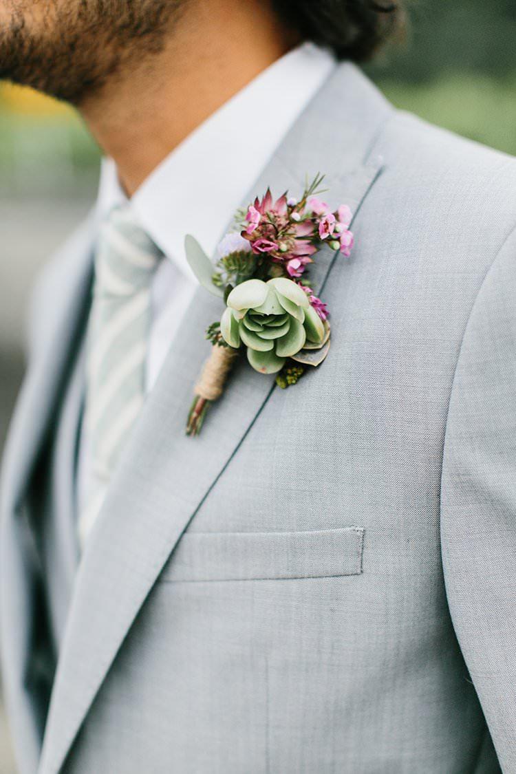 Beautiful Destination Summer Grey Suit Groom Buttonhole Boutonniere Succulent Pink | Romantic Castle Switzerland Wedding http://kbalzerphotography.com/