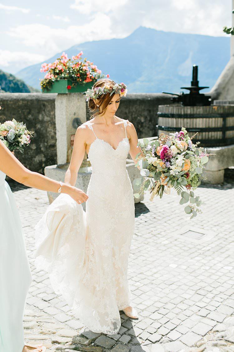 Destination Summer Mountains Bride Sweetheart Dress Natural Wild Bouquet Flower Crown | Romantic Castle Switzerland Wedding http://kbalzerphotography.com/