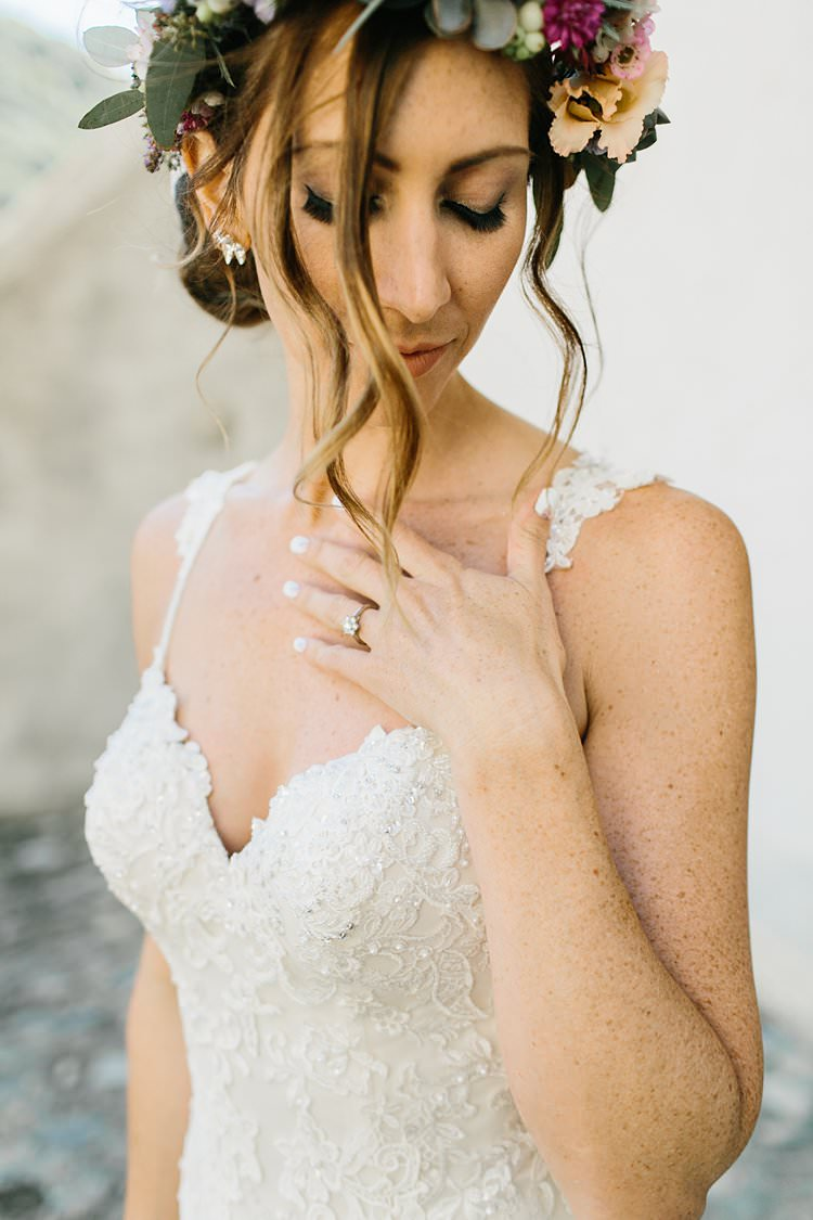 Beautiful Bride Updo Natural Flower Crown Fine Art Sweetheart Lace Beads Dress Strap | Romantic Castle Switzerland Wedding http://kbalzerphotography.com/
