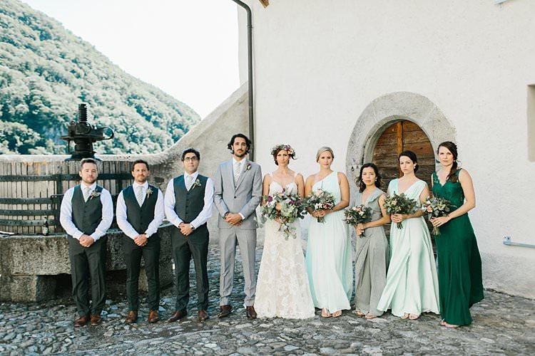Destination Summer Mountains Bride Bridesmaids Groomsmen Groom Grey Green | Romantic Castle Switzerland Wedding http://kbalzerphotography.com/