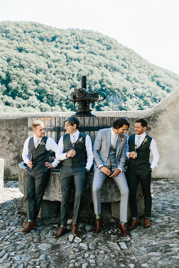 Destination Summer Mountains Vineyard Beer Groomsmen Groom Grey Green | Romantic Castle Switzerland Wedding http://kbalzerphotography.com/