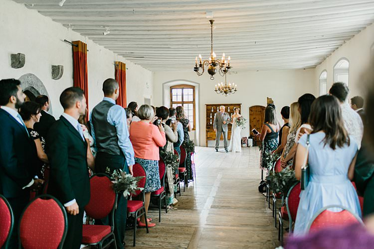 Ceremony Bride Father Wild Natural Bouquet Chandeliers Destination | Romantic Castle Switzerland Wedding http://kbalzerphotography.com/