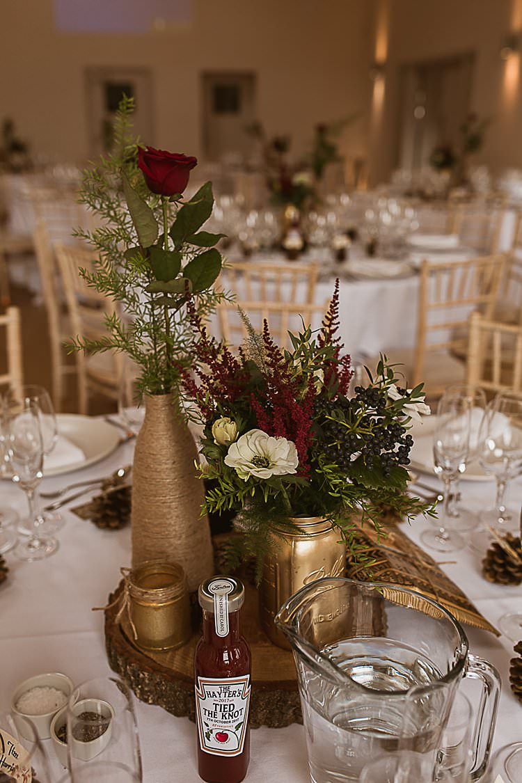 Centrepiece Decor Log Flowers Bottle Jar Gold Twine Beautiful Vibrant Dark Red Autumn Wedding http://thespringles.com/