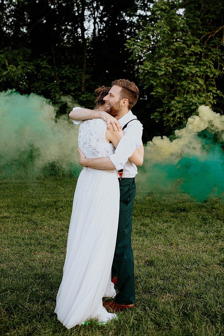 Smoke Bomb Portraits Mega Laid Back Festival Party Wedding http://www.jessicawilliams.photography/