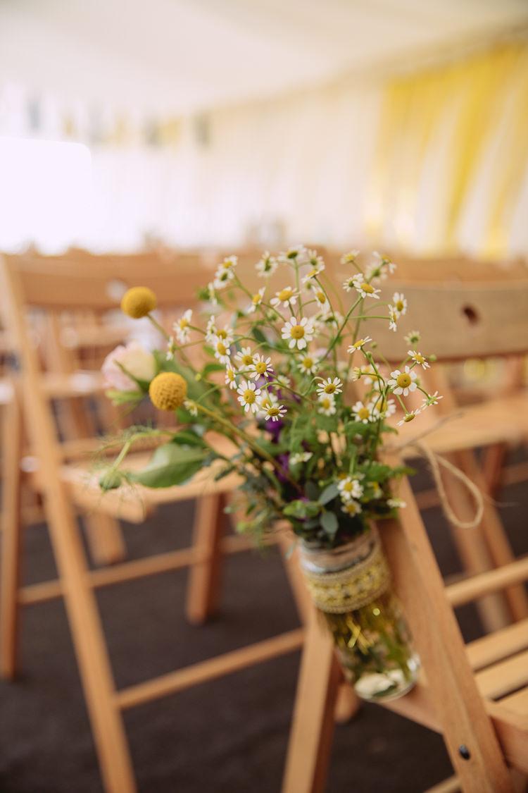 Daisies Craspedia Chair Aisle Pew End Decor Flowers Jar Geenery Gorgeous Gold Navy Wow Factor Wedding http://hayleybaxterphotography.com/