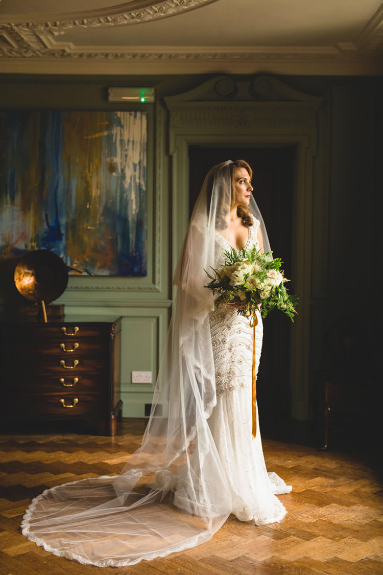 Bride Bridal Veil Dress Gown Embellished Fishtail Bouquet Ribbon Gold Sequins Marble Greenery Vintage Glamour Wedding https://www.tobiahtayo.com/