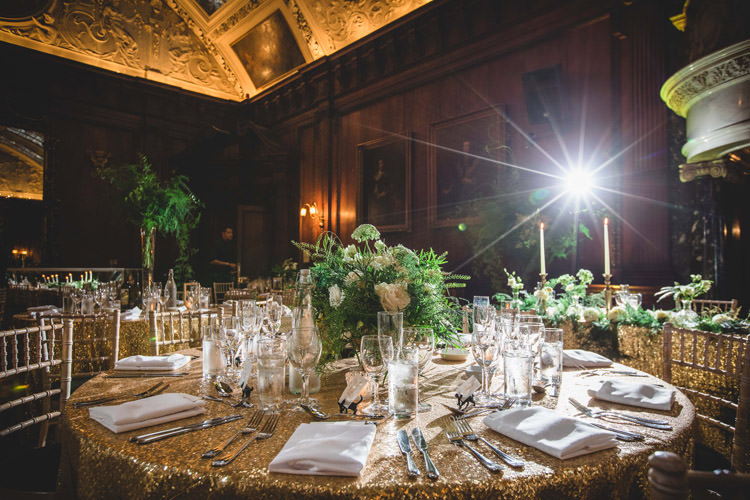 Table Centre Greenery Gold Sequins Marble Greenery Vintage Glamour Wedding https://www.tobiahtayo.com/