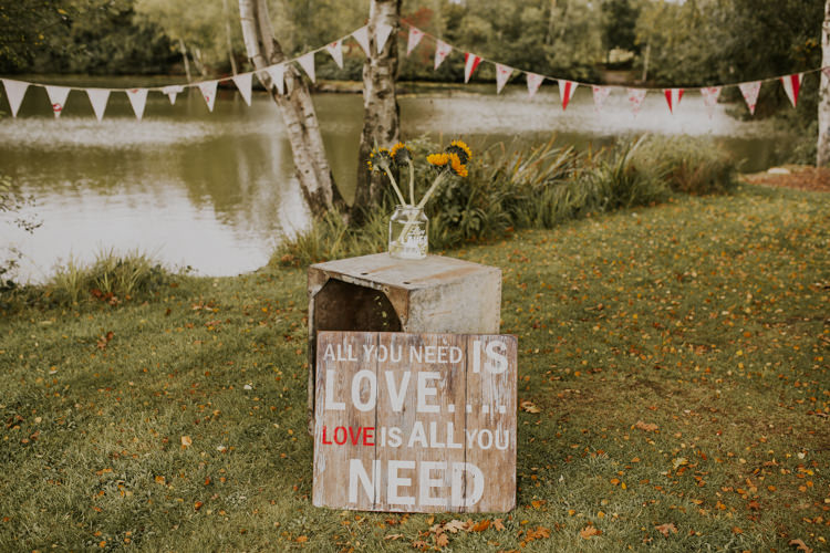 Wooden Sign Pallet Crate Bunting Vase Flowers Floral Rustic Country Fun Autumn Farm Wedding http://natalyjphotography.com/