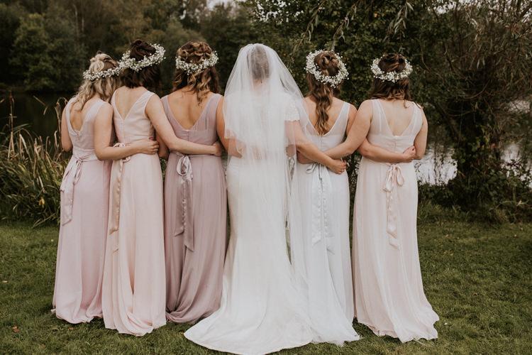 Bride Bridal Bridesmaids Pastel Pink Blush Sash Gypsophila Crowns Veil Rustic Country Fun Autumn Farm Wedding http://natalyjphotography.com/
