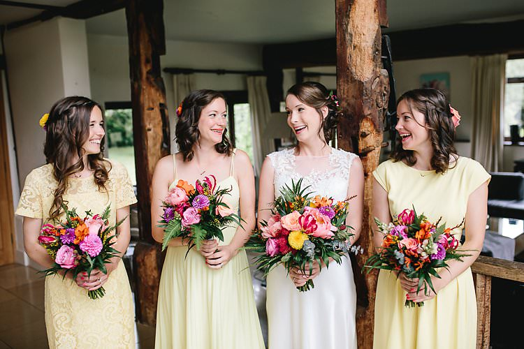 Yellow Bridesmaid Dresses Tropical Countryside Tipi Wedding https://parkershots.com/