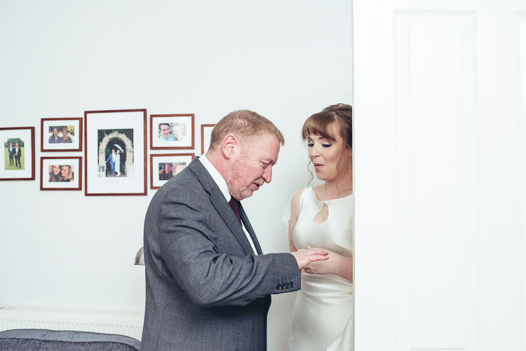 Bride Father Morning Prep Silk Dress Relaxed Embrace First Look | Greenery Burgundy City Autumn Wedding http://lisahowardphotography.co.uk/