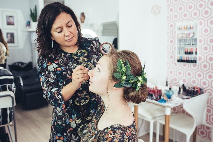 Bride Updo Prep Foliage Makeup Hair Salon | Greenery Burgundy City Autumn Wedding http://lisahowardphotography.co.uk/