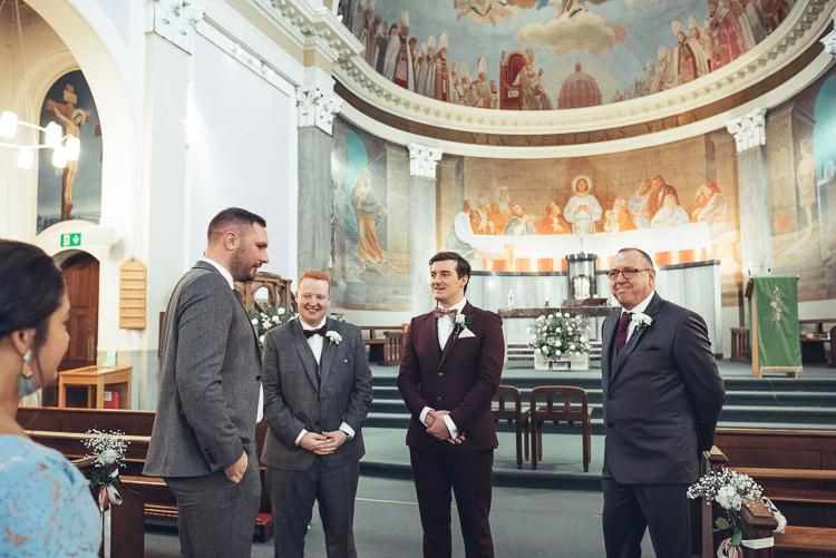 Groom Groomsmen Ushers Church Aisle Morning Grey Burgundy Suit | Greenery Burgundy City Autumn Wedding http://lisahowardphotography.co.uk/