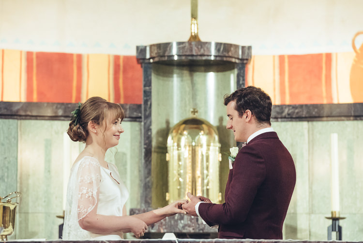 Bride Groom Ceremony Readings Hymns Laughter Altar Exchange Rings Vows | Greenery Burgundy City Autumn Wedding http://lisahowardphotography.co.uk/