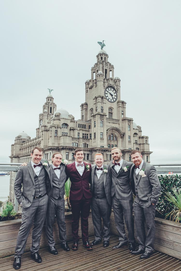 Groom Groomsmen Burgundy Grey Suits Photos Cityscape Terrace View Liverpool | Greenery Burgundy City Autumn Wedding http://lisahowardphotography.co.uk/