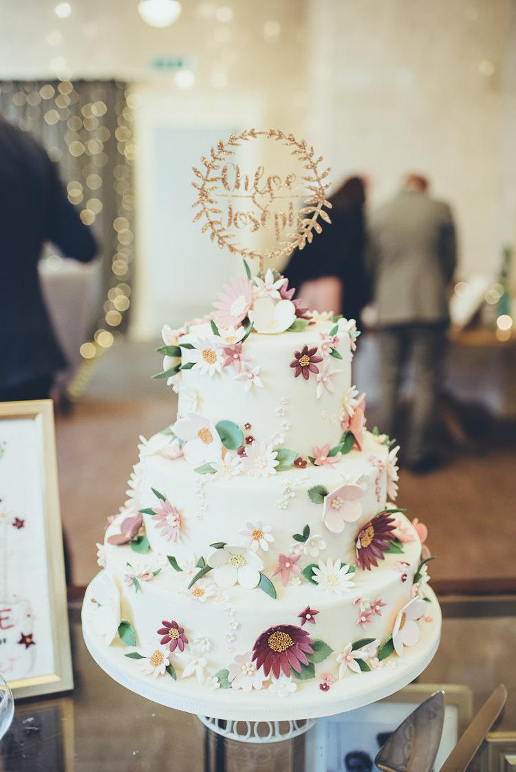 Cake Handmade DIY Sugar Flowers Icing Personalised Gold Topper Three Tier | Greenery Burgundy City Autumn Wedding http://lisahowardphotography.co.uk/