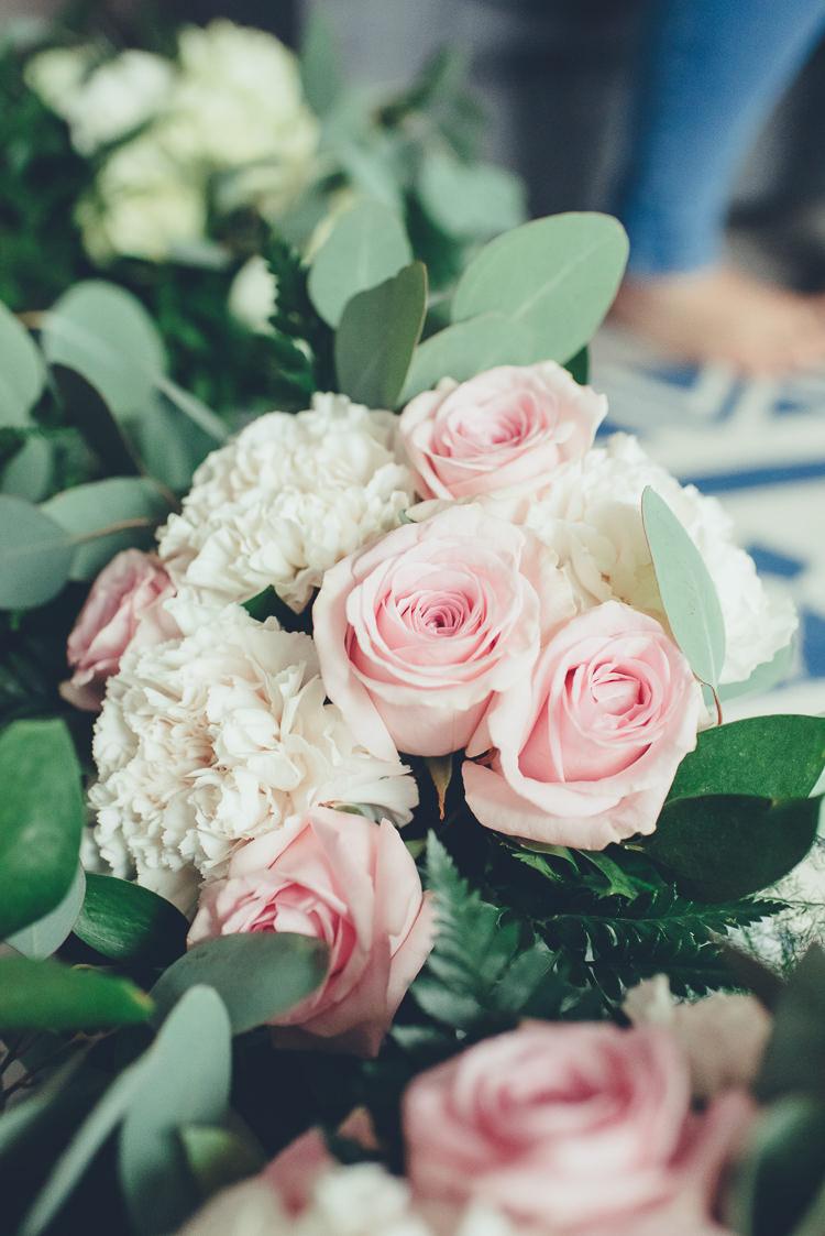 Blush Pink White Bridesmaid Bouquet Green Foliage Romantic Classic Elegant | Greenery Burgundy City Autumn Wedding http://lisahowardphotography.co.uk/