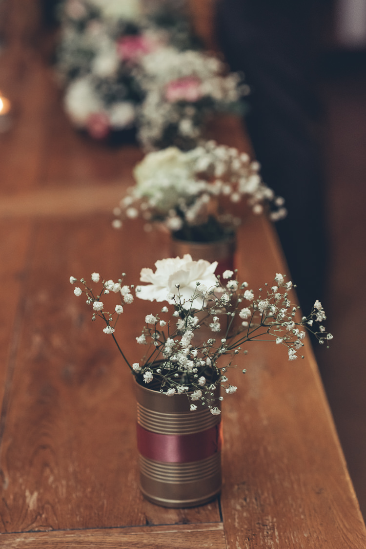 Rustic Industrial Decor White Pink Flowers Gyp Baby's Breath Tin Can Ribbon | Greenery Burgundy City Autumn Wedding http://lisahowardphotography.co.uk/