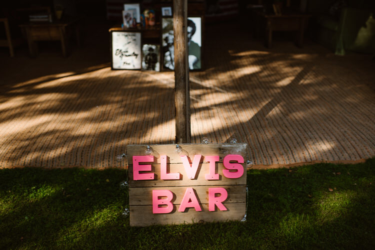 Elvis Bar Sign Vegan Handfasting Summer Garden Party Wedding https://www.elliegillard.co.uk/
