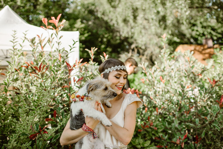 Dog Pet Bride Vegan Handfasting Summer Garden Party Wedding https://www.elliegillard.co.uk/