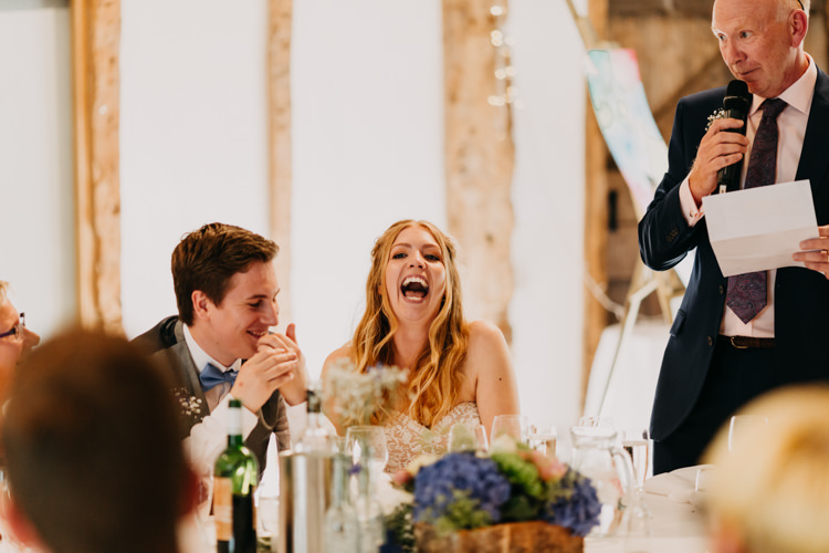 Bride Groom Speeches Father Funny Laughing Informal Decor   Rustic Relaxed Cornflower Blue Barn Wedding http://www.peterhugophotography.com/