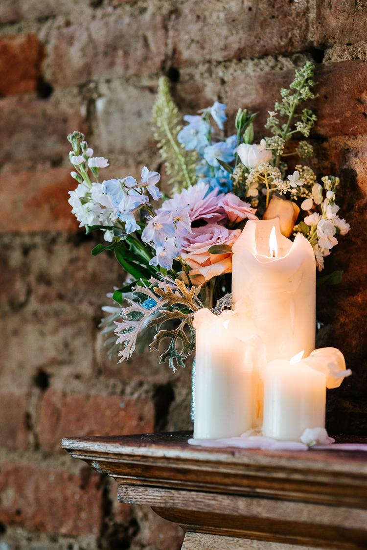 Pastel Wildflower Decor Candles Urban Styling Colorful | Glitter Dinosaurs City Wedding https://struvephotography.co.uk/