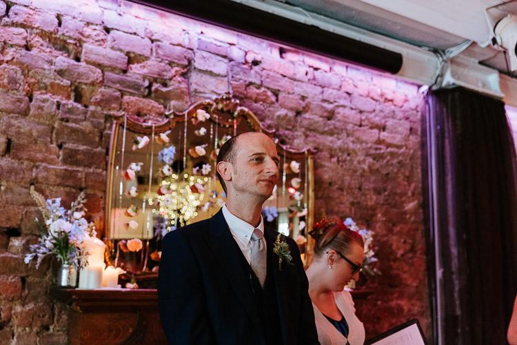 Hanging Floral Curtain Candle Ceremony Backdrop Groom Celebrant | Glitter Dinosaurs City Wedding https://struvephotography.co.uk/