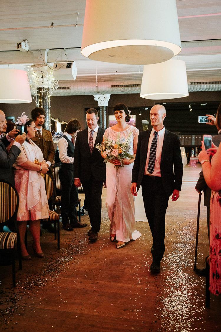 Bride Father Aisle Ceremony Glitter Decor Flat Shoes | Glitter Dinosaurs City Wedding https://struvephotography.co.uk/