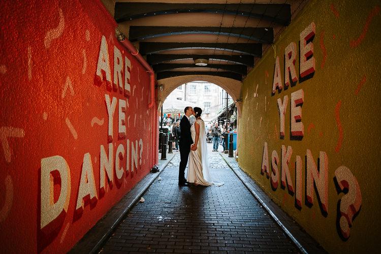 Bride Groom City Street Photography Glasgow Scotland Tunnel | Glitter Dinosaurs City Wedding https://struvephotography.co.uk/