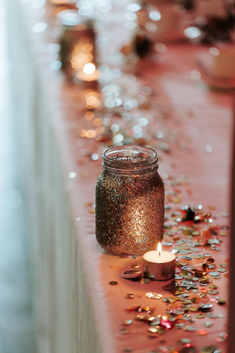 Glitter Tealights Candles Jars Decor Pink Sequin Fun Quirky | Glitter Dinosaurs City Wedding https://struvephotography.co.uk/