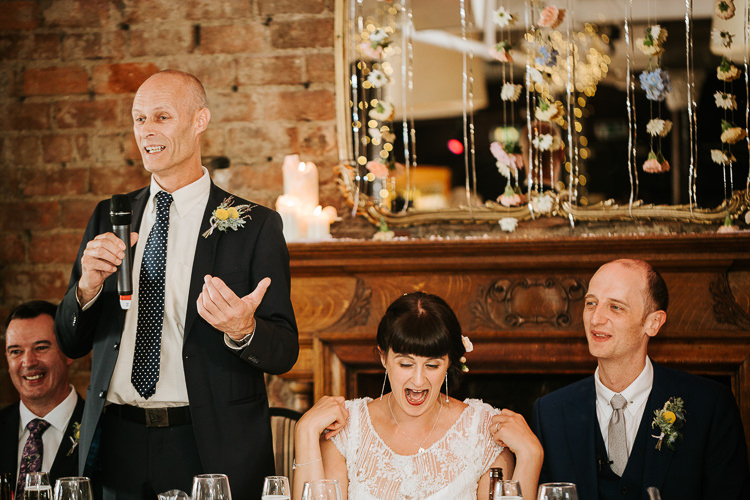 Father Speeches Fun Floral Curtain Bride Groom Laughter | Glitter Dinosaurs City Wedding https://struvephotography.co.uk/