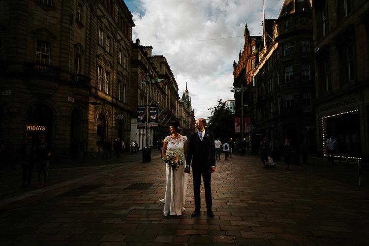 Dark Bride Groom Street City Photography Glasgow Scotland | Glitter Dinosaurs City Wedding https://struvephotography.co.uk/