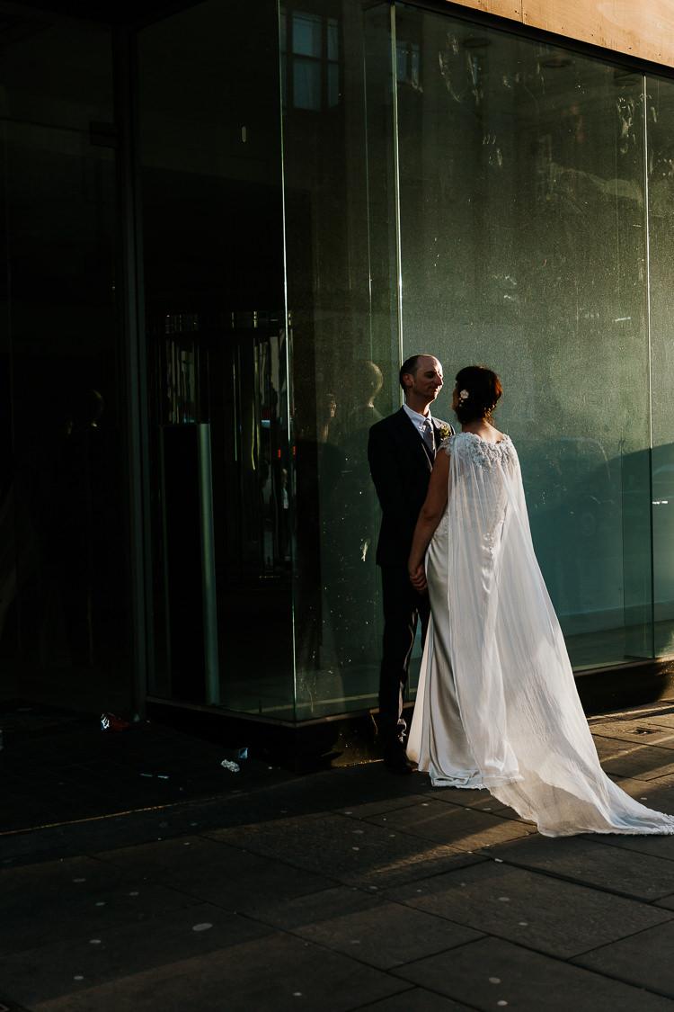 Glasgow Scotland Street Bride Groom Photos Cape Dress | Glitter Dinosaurs City Wedding https://struvephotography.co.uk/