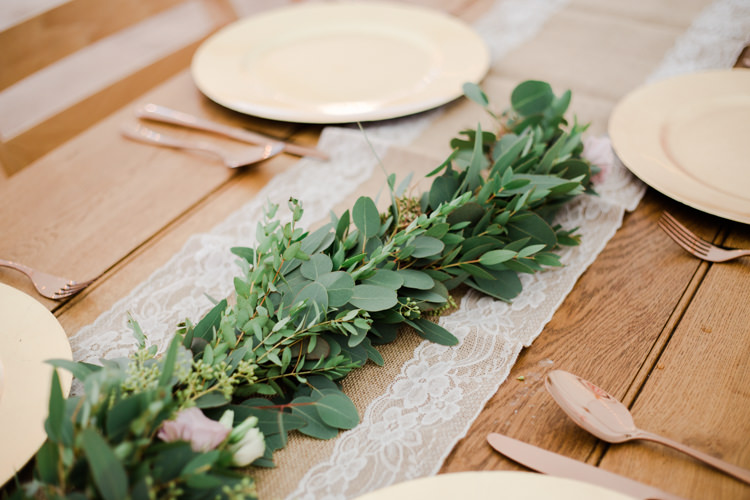 Greenery Foliage Table Runner Decor Swag Outdoorsy Late Summer Marquee Wedding Ideas http://www.esmefletcher.com/