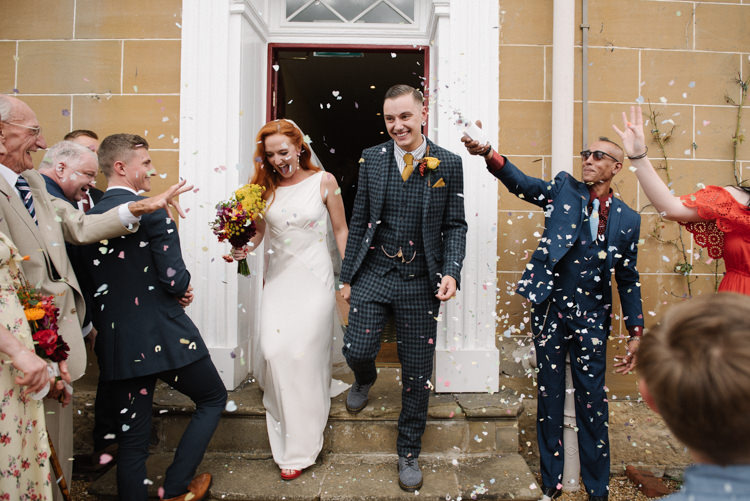 Groom Style Harris Tweed Three Piece Waistcoat Blue Mustard Bride Bridal Ghost Dress Gown Veil Silk Confetti Shot Homemade Street Party Back Garden Wedding http://www.foxmoonphotography.com/