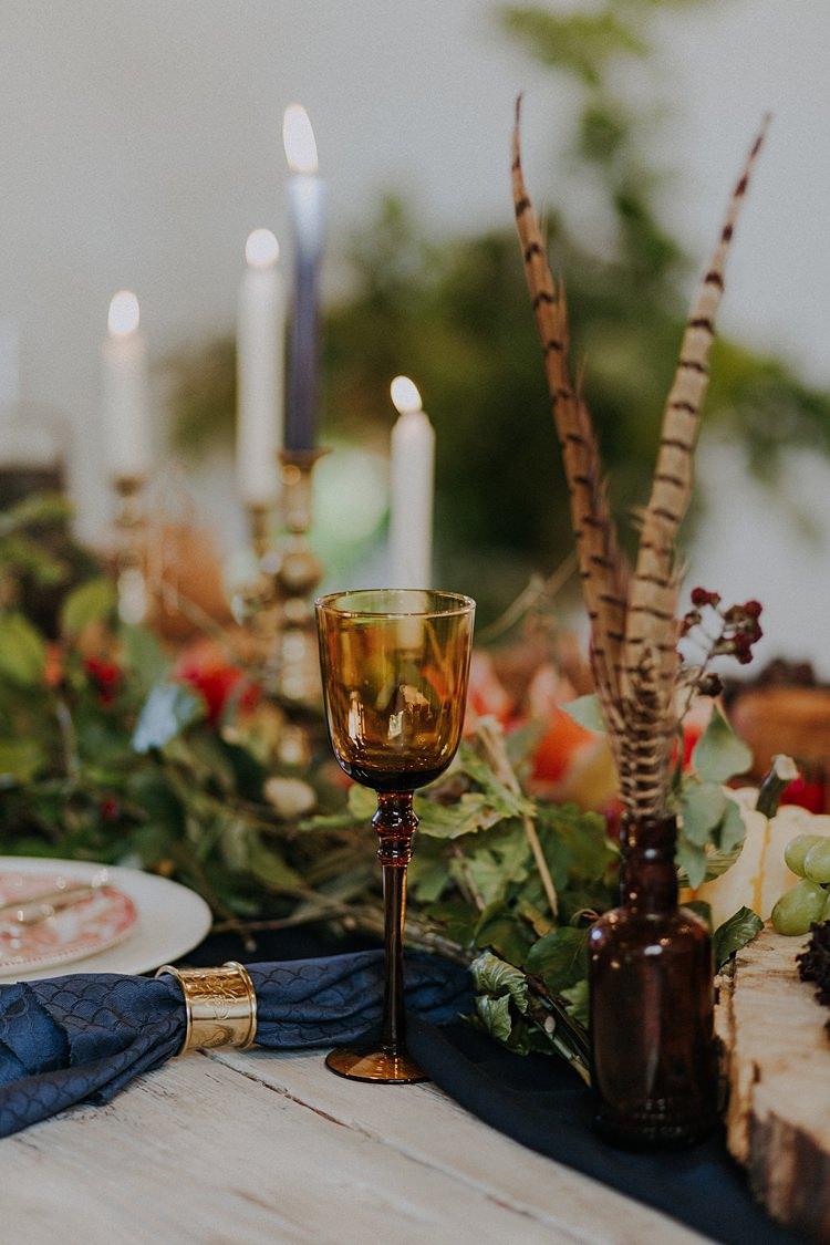 Table Tablescape Decoration Flowers Vegetables Fruit Pumpkins Candles Feather Banquets Bonfires Autumn Wedding Ideas https://lolarosephotography.com/