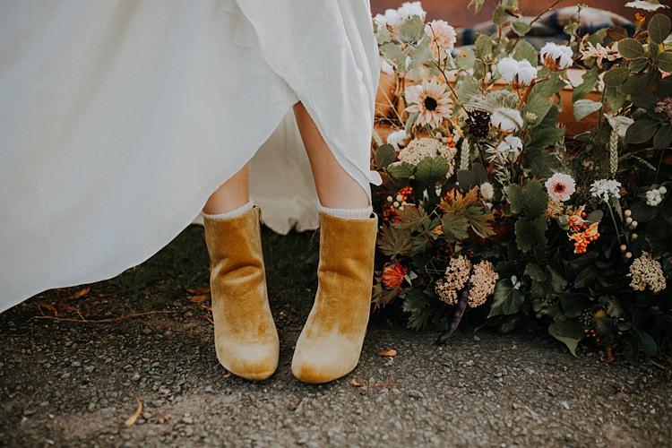 Mustard Block Heel Ankle Boots Bride Bridal Banquets Bonfires Autumn Wedding Ideas https://lolarosephotography.com/