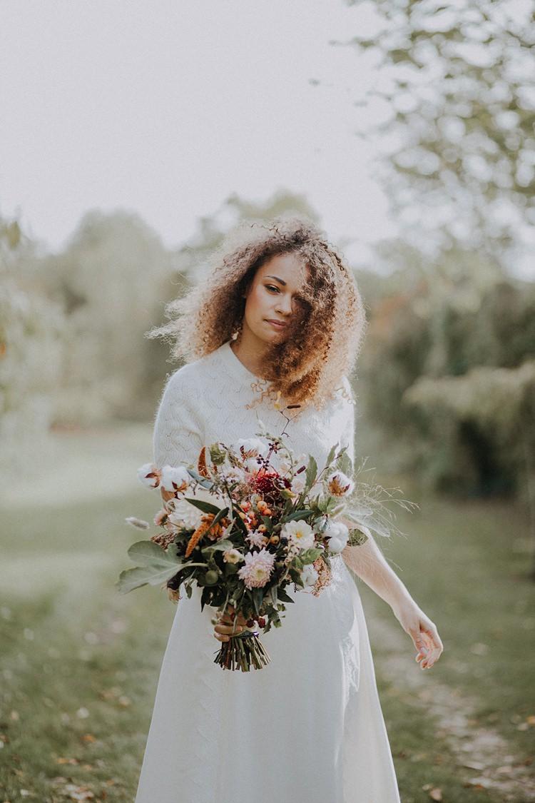 Bouquet Flowers Bride Bridal Ribbon Greenery Banquets Bonfires Autumn Wedding Ideas https://lolarosephotography.com/
