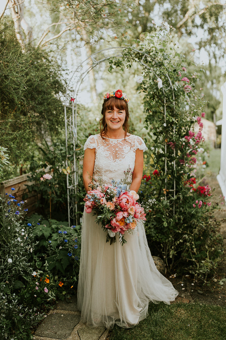 Iris Halfpenny London Lace Dress Gown Bride Bridal Bright Colourful DIY Back Garden Wedding http://jonnymp.com/