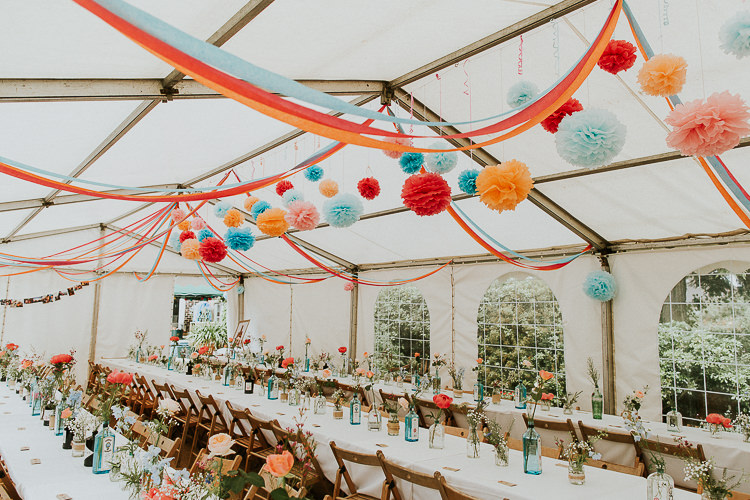 Pom Pom Streamers Flowers Marquee Reception Bright Colourful DIY Back Garden Wedding http://jonnymp.com/