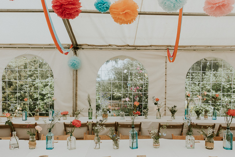 Bottle Flowers Bright Colourful DIY Back Garden Wedding http://jonnymp.com/