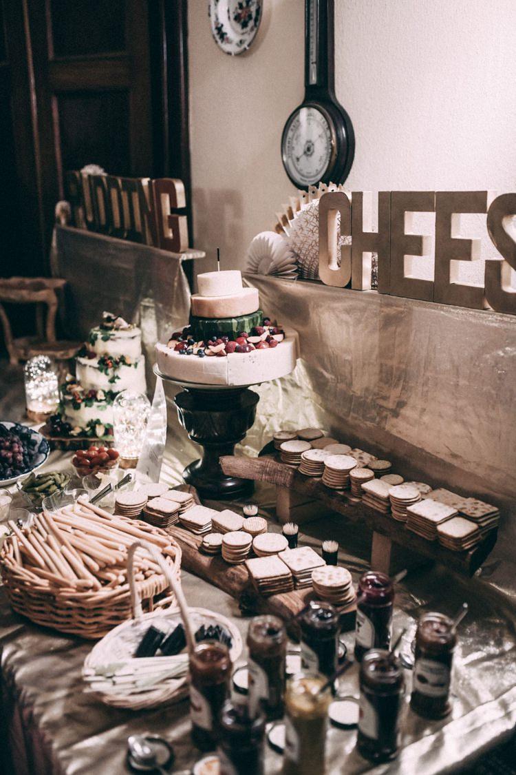 Cake Cheese Dessert Table Opulent Eccentric Berry Gold Wedding https://mattaustinimages.co.uk/