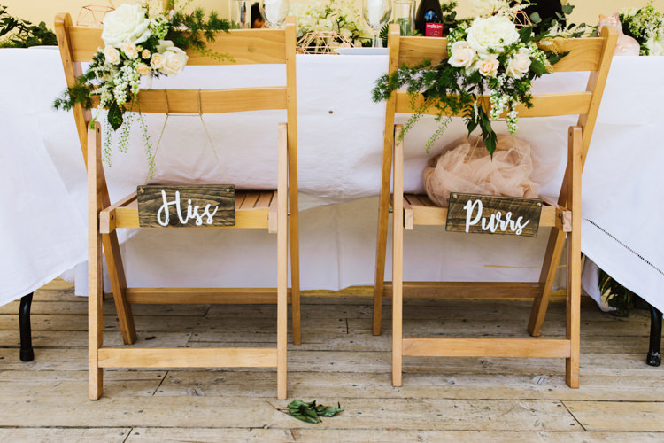 Chair Decor Flowers Bride Groom Signs Fun Town Hall Countryside Gardens Cat Wedding http://www.allymphotography.com/