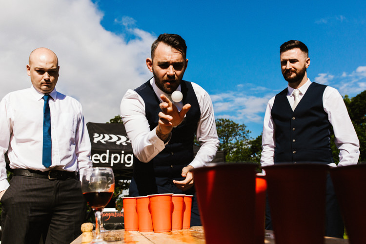 Beer Pong Fun Town Hall Countryside Gardens Cat Wedding http://www.allymphotography.com/