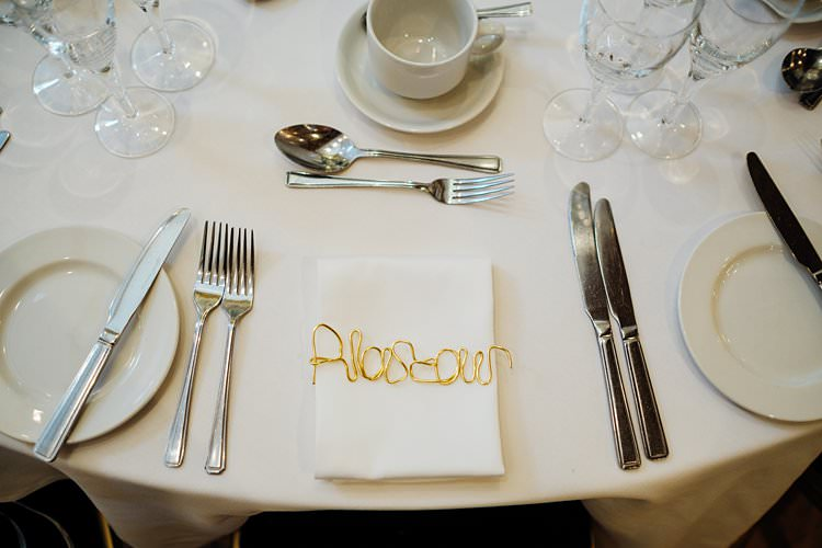 Gold Wire Place Name Setting Stylish Country House Rave Wedding http://www.mariannechua.com/